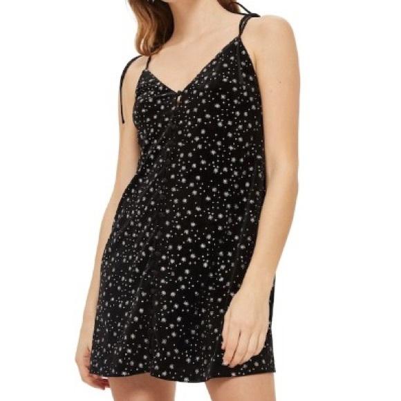 10c3cace Topshop Dresses | Nwt Starry Velvet Slip Dress | Poshmark
